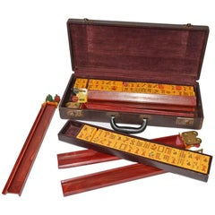 Antique Chinese Mah Jong Set in Carrying Case