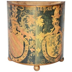 Vintage Coat-of-Arms Decoupage Waste Basket