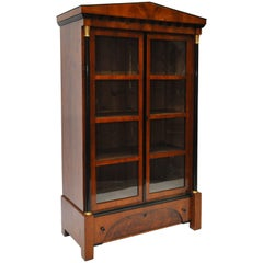 1830s Biedermeier Architectural Style Bookcase Cherry Veneers & Ebonized Detail
