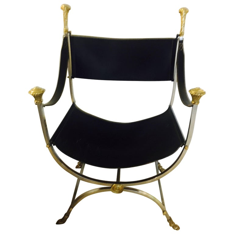 Maison Jansen Brass Polished Steel and Leather Savonarola Chair