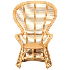 High Rattan Wingback Chair