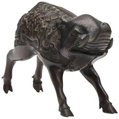 Japanese Meiji Bronze Wild Boar Figure, 19th Century