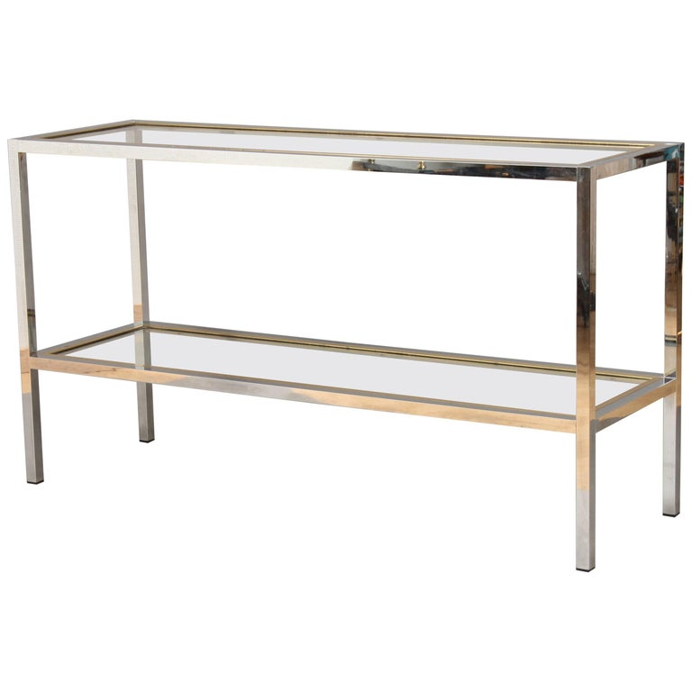 Two-Tier Console Table, Brass, Chrome and Glass