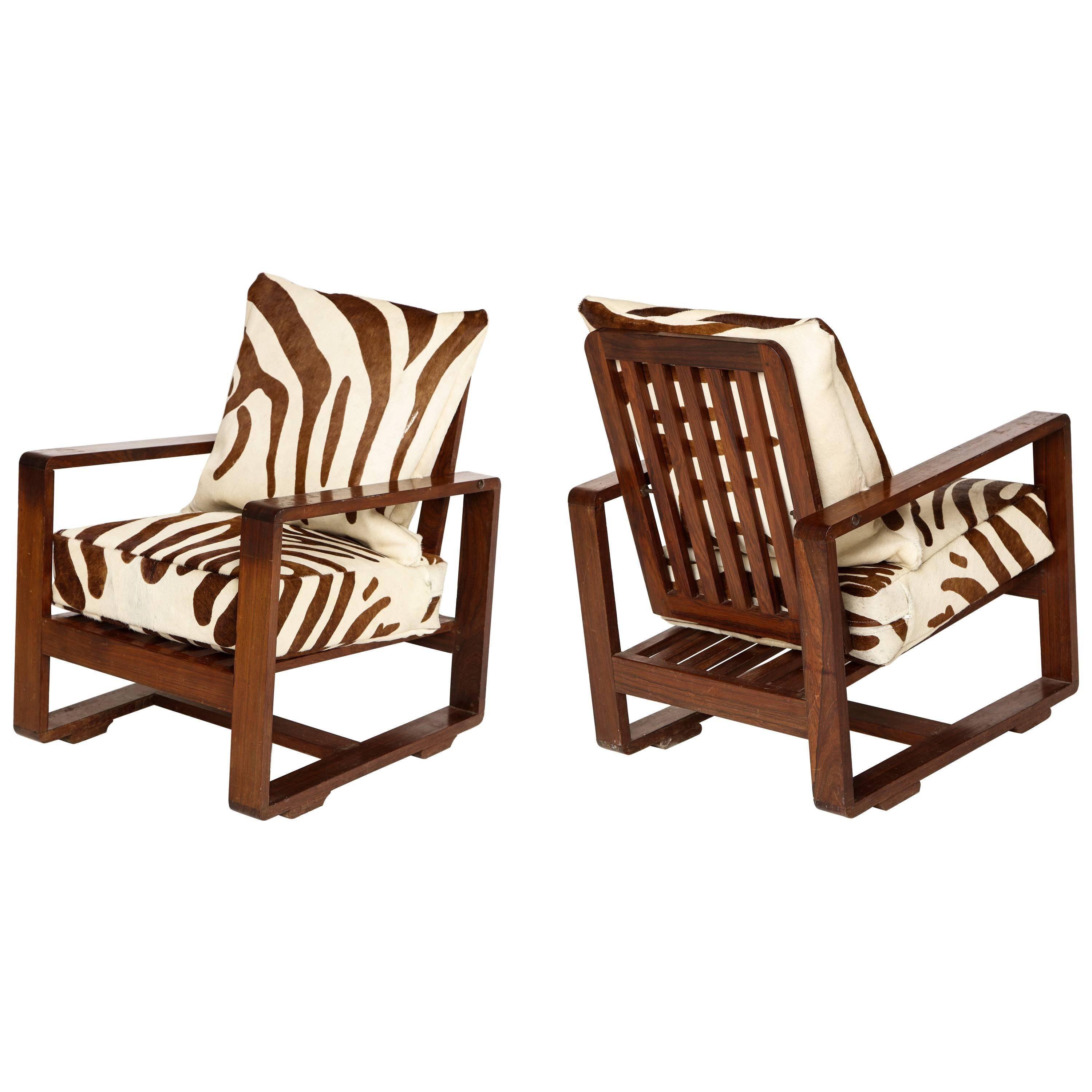 Sornay Attributed Deco Rosewood Lounge Chairs, France 1930s-1940s, Mid-Century