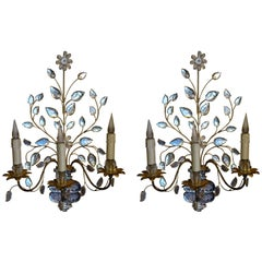 Pair of French Large Three-Arms Crystal Wall-Lights by Maison Baguès, circa 1950