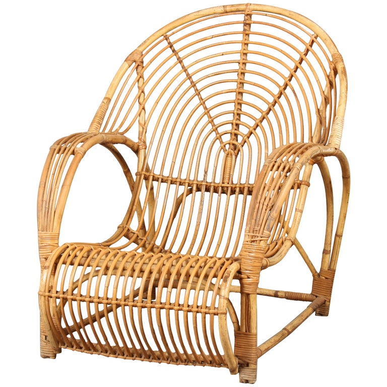 Rattan Lounge Chair 1950s Viggo Boesen Style Danish For