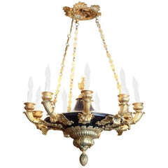 Exceptional 19th Century French Empire Ormolu and Bronze Chandelier