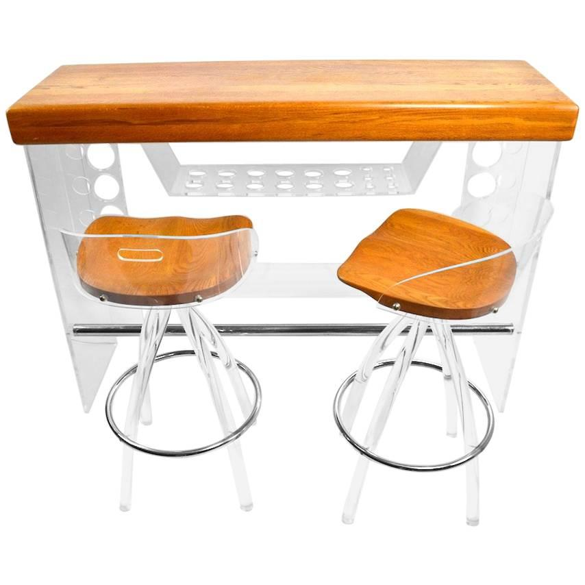 Lucite And Wood Bar With Stools
