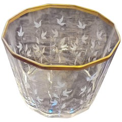 S.A.L.I.R. Murano Glass Vase Hand-Engraved with Flower Decor