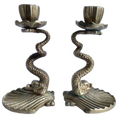 Arthur Court Brass Serpent Candlesticks, 1979