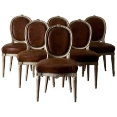 Dining Chairs Swedish Set of Six Gustavian Period Sweden