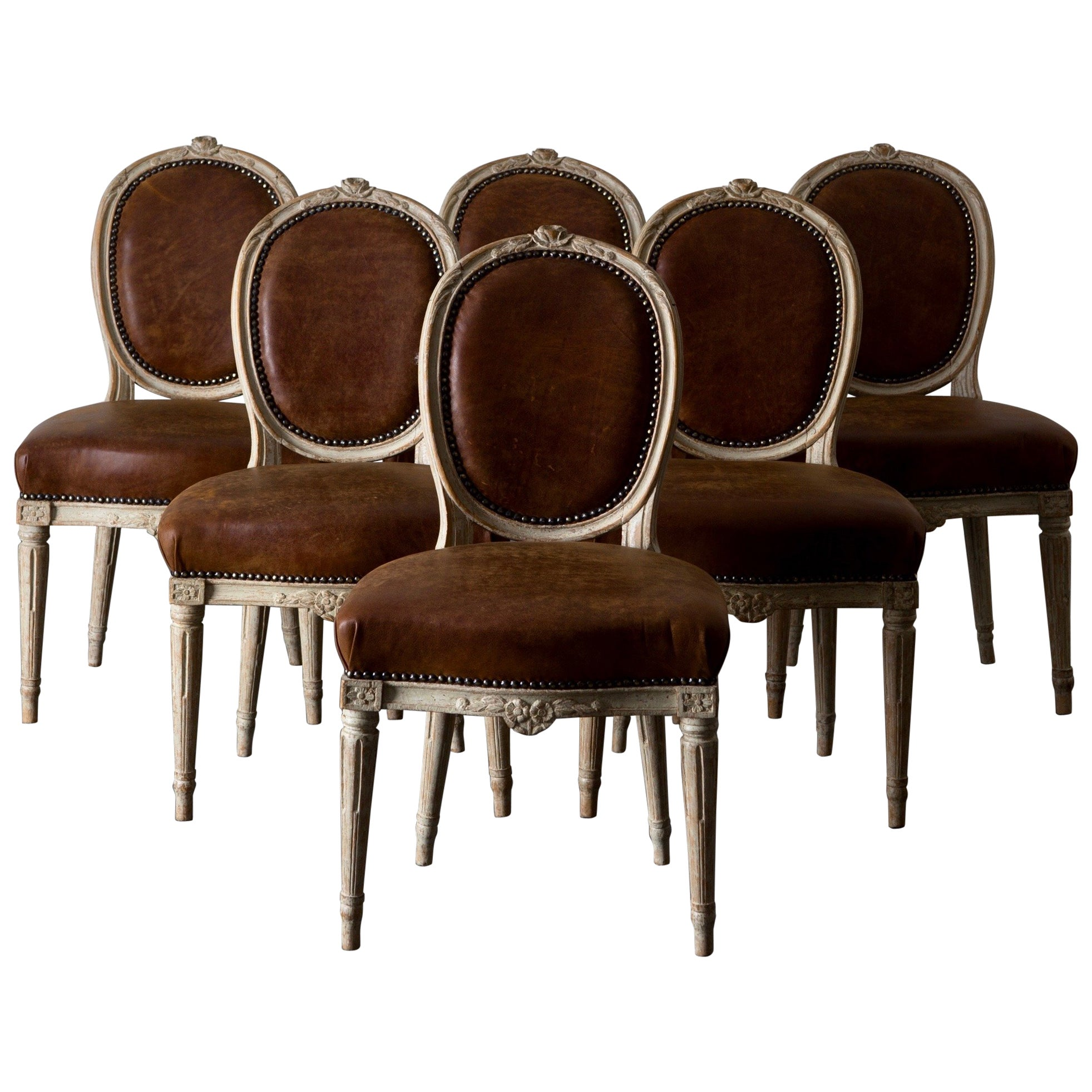 Chairs Dining Chairs Swedish Set of Six Gustavian Period Sweden