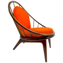 Ib Kofod-Larsen for Selig Peacock, Hoop Chair Early Example