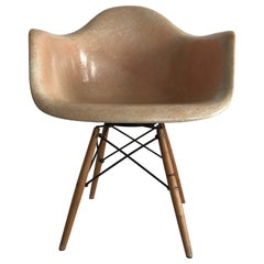 "First Edition Charles Eames ""Paw Chair"" Swivel Fibreglass Shell Dowel Leg Birch"