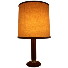 Le Tanneur Leather Table Lamp with Matching Lampshade