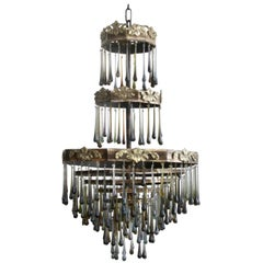 1920s Waterfall Chandelier with Contemporary Teardrops
