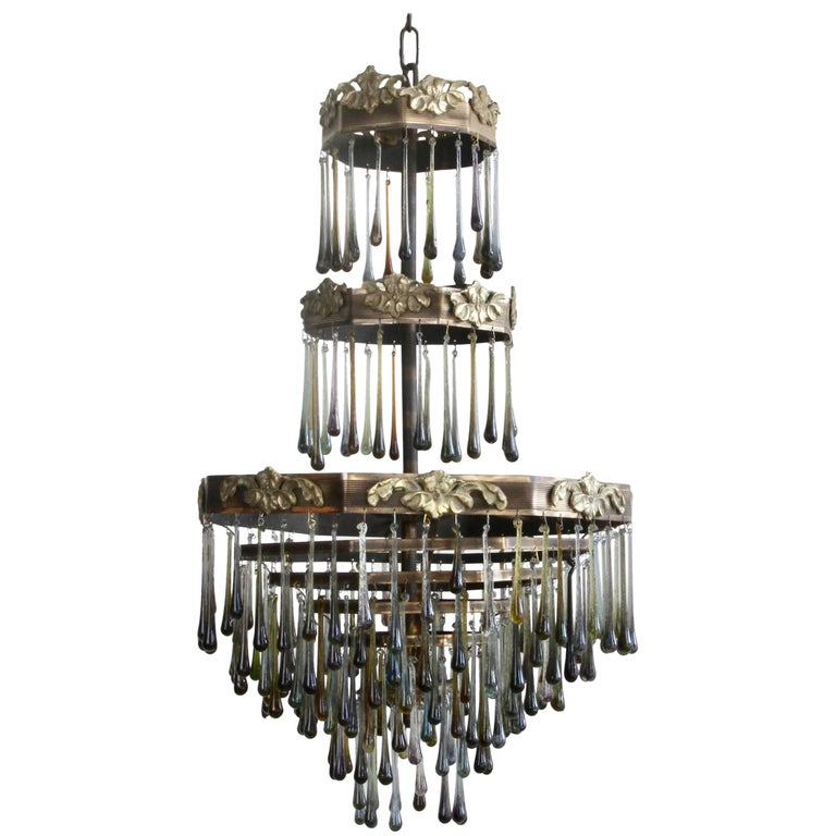 1920s Waterfall Chandelier with Contemporary Teardrops For Sale