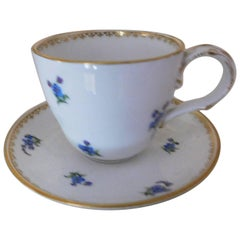 Early 19th Century Meissen Porcelain Blue Flower Demitasse Cup and Saucer