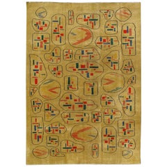 Yellow Background Vintage Turkish Mid-Century Modern Rug with Geometric Motifs