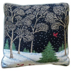 Woven Tapestry Cushion or Pillow with Winter Woodland Scene, Mid-20th Century