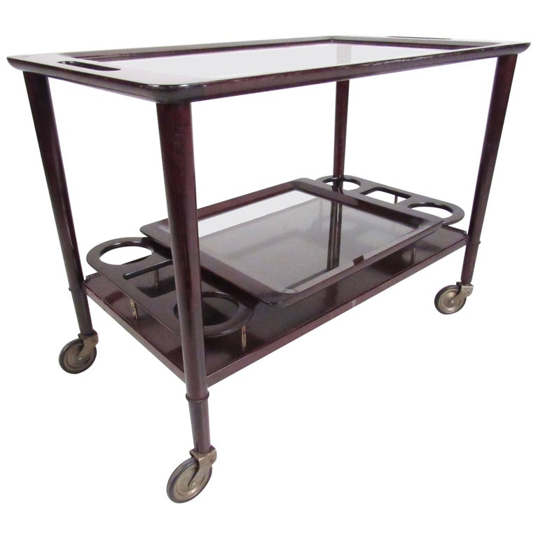 Italian Modern Mahogany Bar Cart With Service Tray For