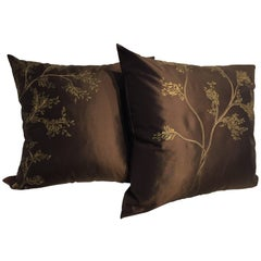 Decorative Silk Cushions with Hand Embroidery and Hand-Painted Color Chocolate