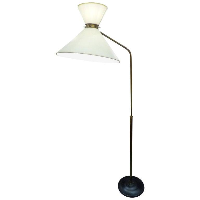 Huge 1960 French Floor Lamp in the Taste of Pierre Guariche 1