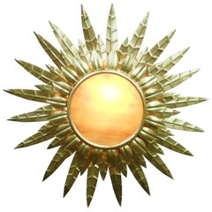 French Mid Century Gilt Metal Sunburst Ceiling Light