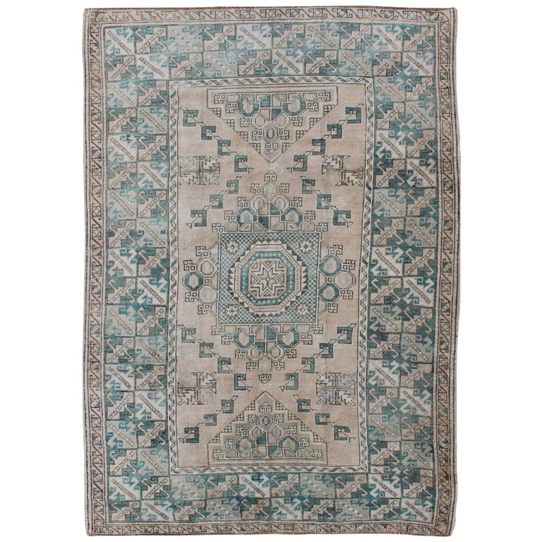 Teal And Cream Vintage Turkish Oushak Rug With Geometric
