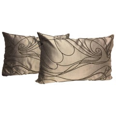 Silk Cushions Color White Gold  Hand Embroidery Contemporary Beading  Silver