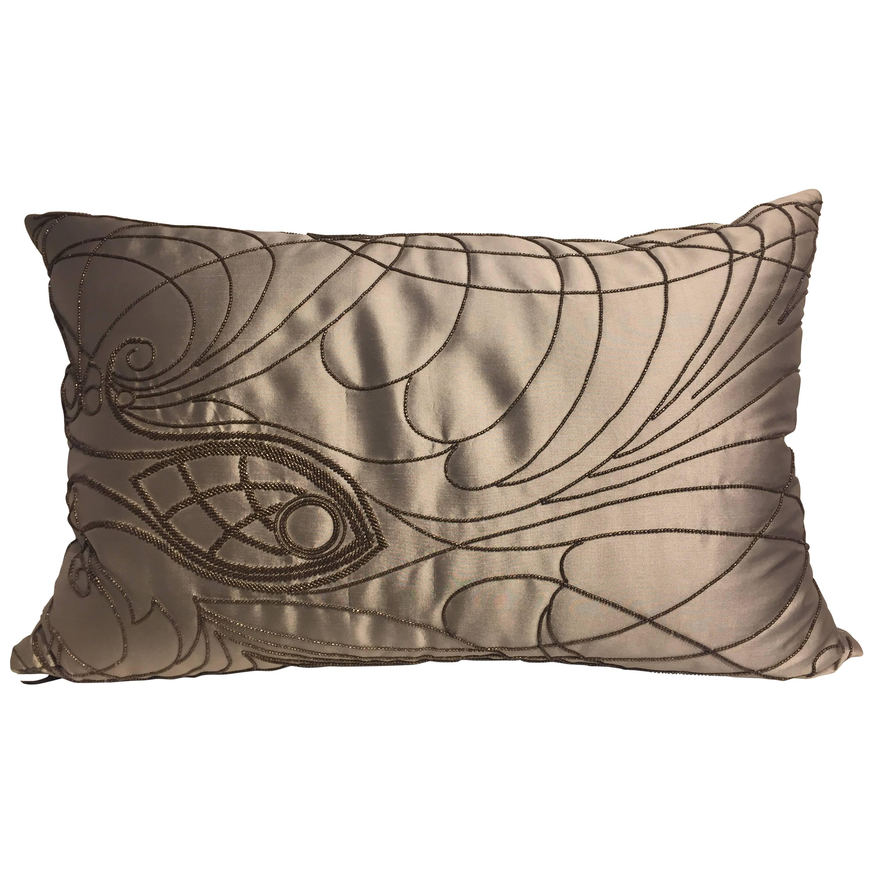 Decorative Silk Cushion With Hand Embroidery Beading Col. Silver 1