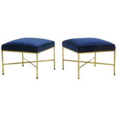 Pair of Paul McCobb Stools Solid Brass Frames and Cross Stretchers Excellent