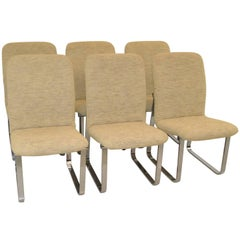 Six Mid-Century Modern DIA Chrome & Upholstery Dining Room Chairs