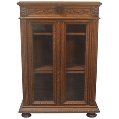 French Antique Carved Oak Bookcase Curio Cabinet