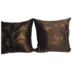 Decorative Silk Cushions with Hand Embroidery and Hand-Painting Color Chocolate