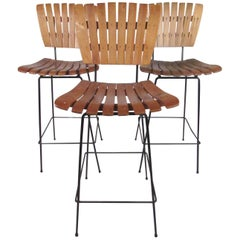 Arthur Umanoff Style Bar Stools, Set of Three
