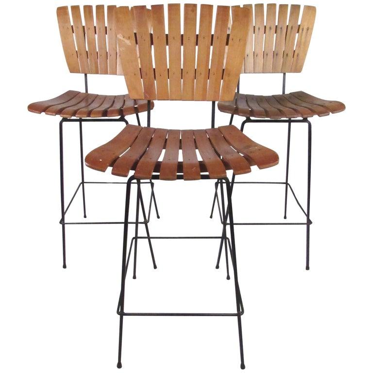 set of three arthur umanoff style bar stools for sale at 1stdibs. Black Bedroom Furniture Sets. Home Design Ideas