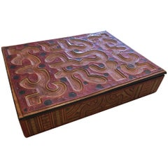 Large Hand-Tooled Moroccan Leather Box