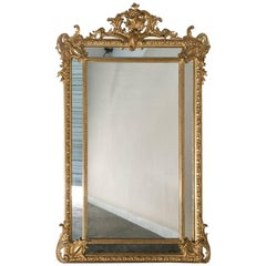 Antique French Gold Leaf Napoleon III Pareclose Mirror, circa 1875
