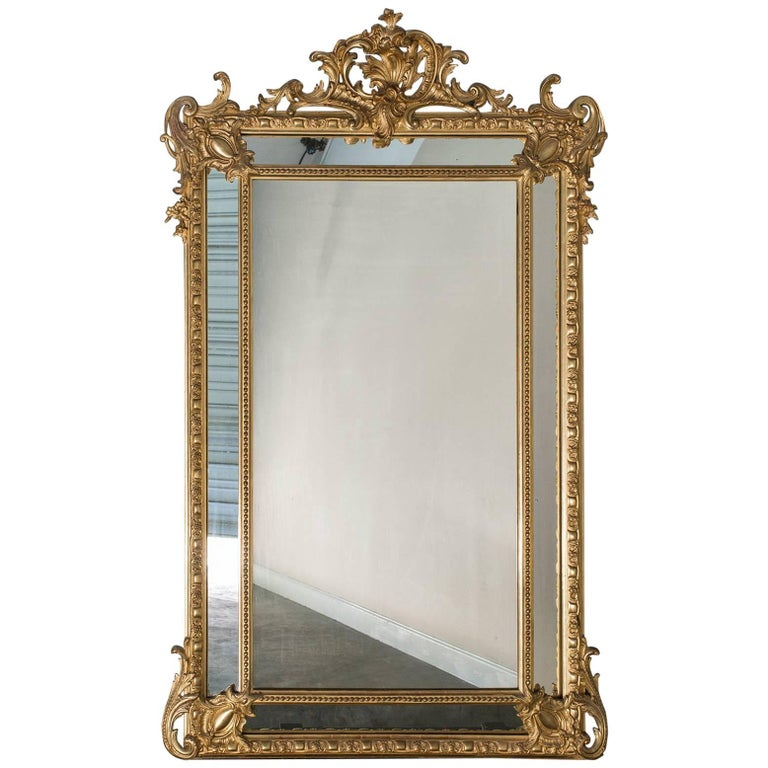 Antique French Gold Leaf Napoleon III Pareclose Mirror, circa 1875 For Sale