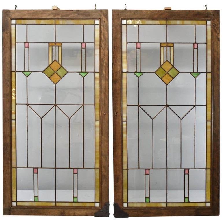 Pair of Arts & Crafts Prairie School Stained Glass Windows