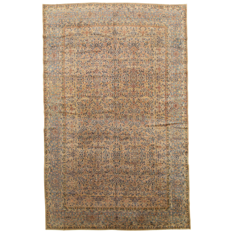 Antique Kerman Carpet, Handmade Persian Rug Wool Carpet, Blue, Beige and Peach