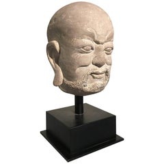 Chinese Carved Limestone Luohan Head, Yuan Dynasty, 1271 - 1368