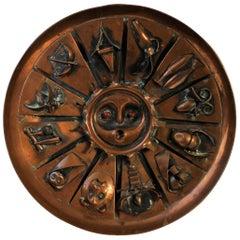 Modernist Sculptural Copper Wall Plate Signed Bolba H