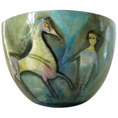 Polia Pillin Surrealist Equine Themed Ceramic Studio Bowl