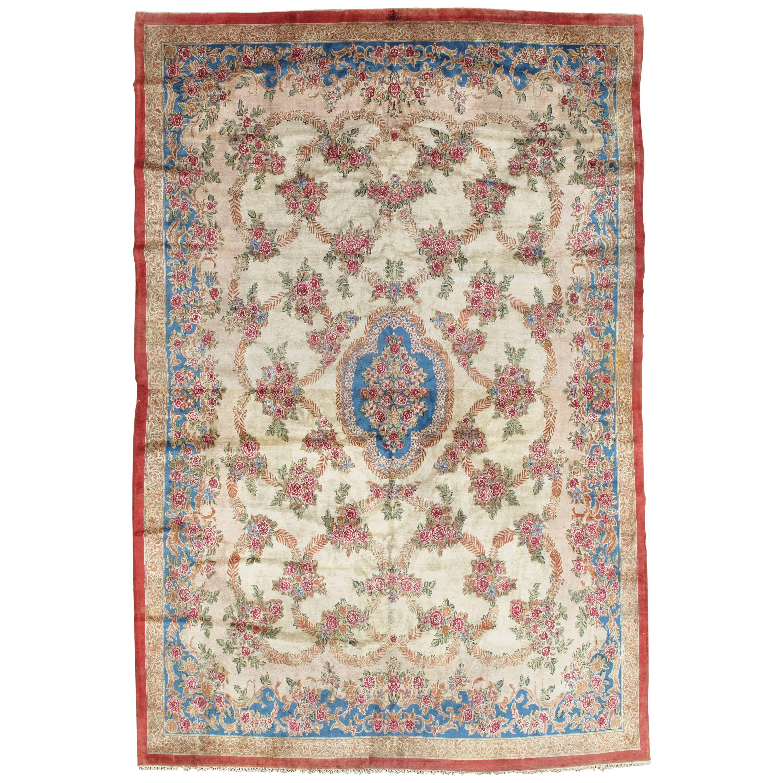 Antique Kerman Carpet, Handmade Persian Rug, Wool Carpet, Pink Red, Green, Ivory