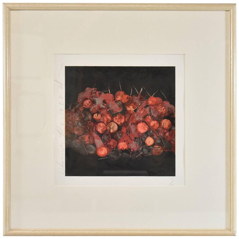 """Donald Sultan Print, """"Cherries"""" Signed and Numbered 51/100, 1988 For Sale"""