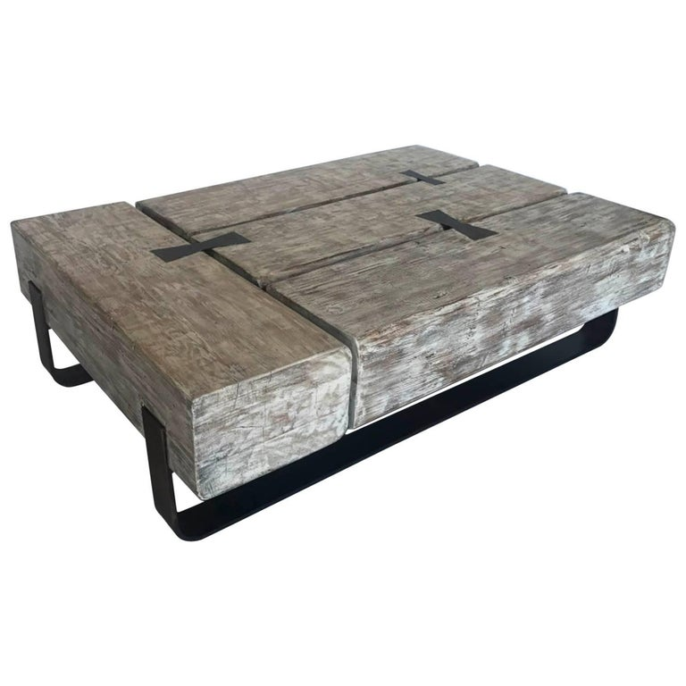 Reclaimed Beam Coffee Table With Iron Base For Sale At 1stdibs