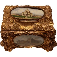 Napoleon III Gilt Bronze Casket, Set with Paris Views