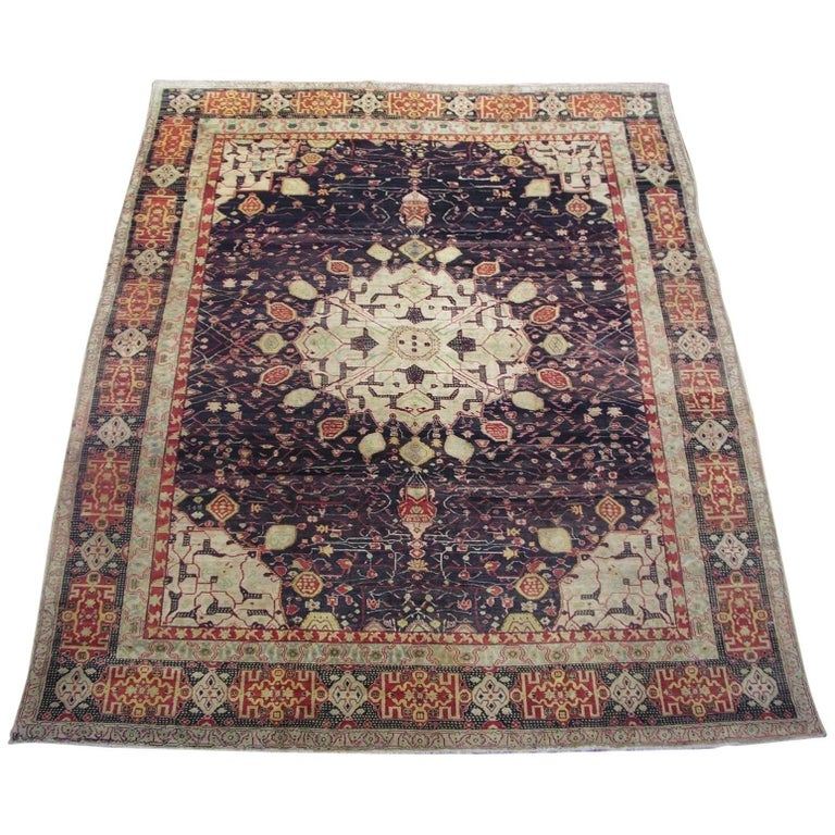 Antique Cotton Agra Rug With Abrash Circa 1900 For Sale: Distressed Antique Indian Agra With Modern Style And